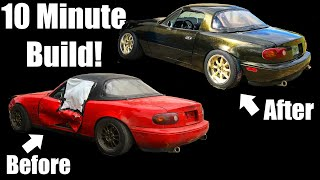 Crashed and Blown Up Miata Gets REBUILT With An LS1 and LOW RIDER Paint!