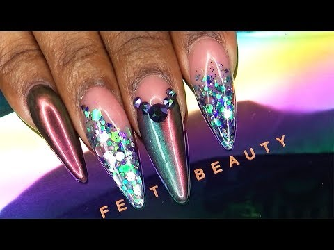 Fenty Beauty Galaxy Collection Inspired Nails | Galaxy Glitter and Chrome | LongHairPrettyNails