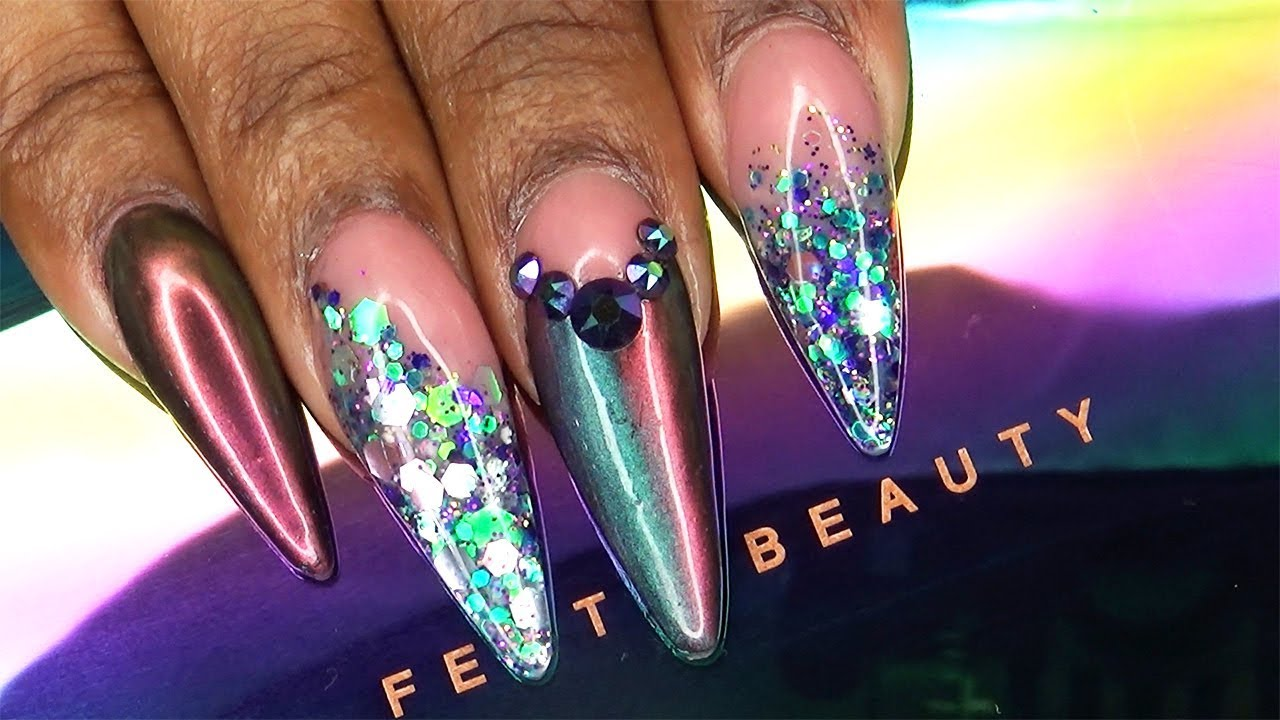 Acrylic Nails Fenty Beauty Galaxy Collection Inspired