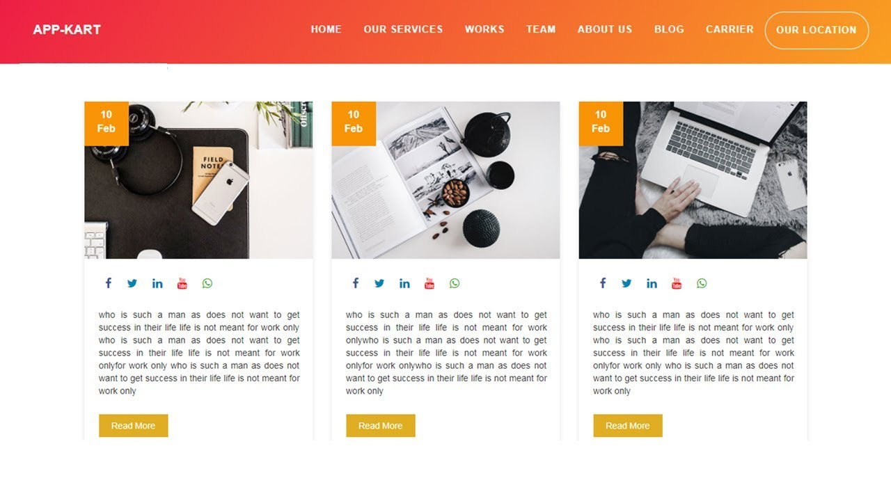 Blog section for website design - Html 5 and css 3 ...