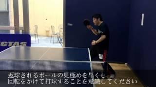 【卓球動画】水野裕哉コーチの基本練習、バック3分の2をランダムでドライブ連打【卓球スクール・タクティブ】