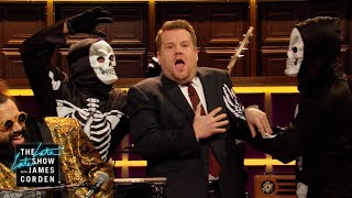 Reggie Keeps Scaring James Corden on Halloween