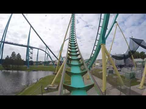 Kraken On Ride POV - Sea World Orlando - Roller Coaster - Theme Park - SJBBVideos