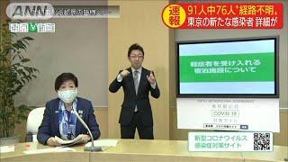 東京都の91人 感染経路不明や調査中が76人(20/04/13)