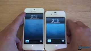 iPhone 5 vs. iPhone 4S(In this video we compare the new iPhone 5 with the iPhone 4S. The iPhone 5 has the new A6 dual-core 1GHz Apple CPU with 1GB of RAM, while the iPhone 4S ..., 2012-09-21T20:20:37.000Z)