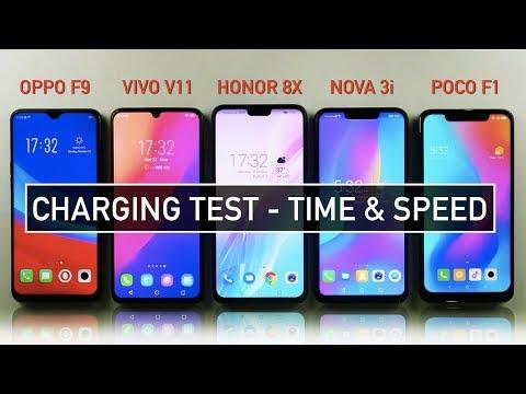 Oppo F9 / Vivo V11 / Honor 8X / Nova 3i / Poco F1 CHARGING Test Speed & Time | Zeibiz