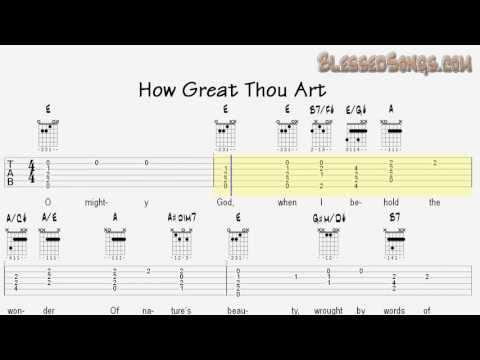 Learn Hymns on Guitar - How Great Thou Art - Tablature and Chords