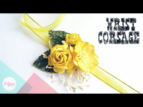 How To Make Paper Flower Wirst Corsage For Prom or Wedding | DIY by Elysia Headband