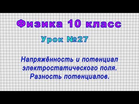 Физика 10 класс (Урок№27 - Напряжённость и потенциал электростатического поля.Разность потенциалов.)