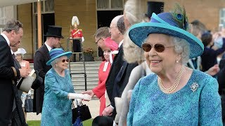 The Queen in high spirits as she joins William & Eugenie for second garden party on Thursday