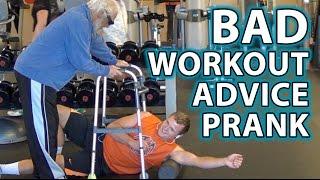 BAD Workout Advice Pranks! (Old Man Gym Prank 2)