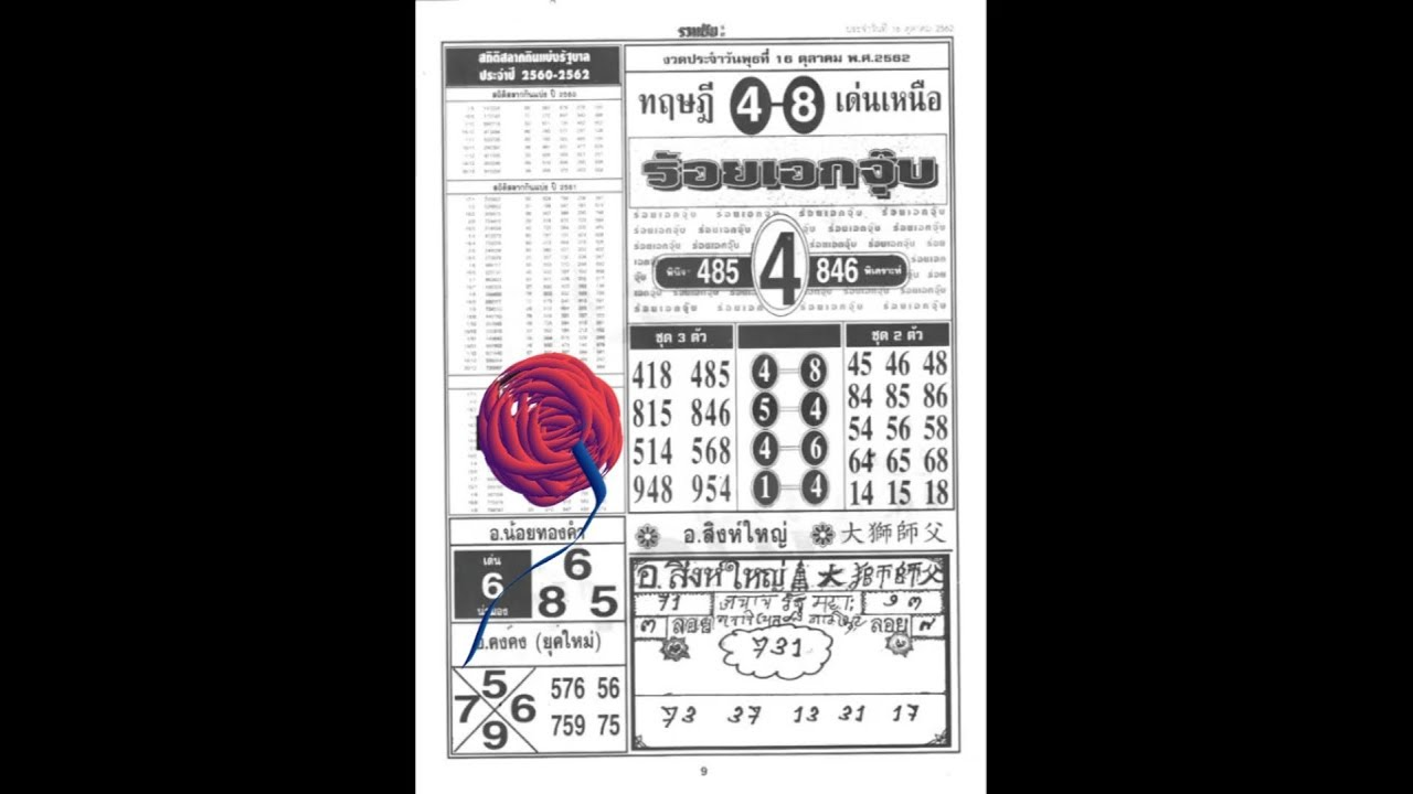 Thailand lotto 16 10 2019 compleet first paper
