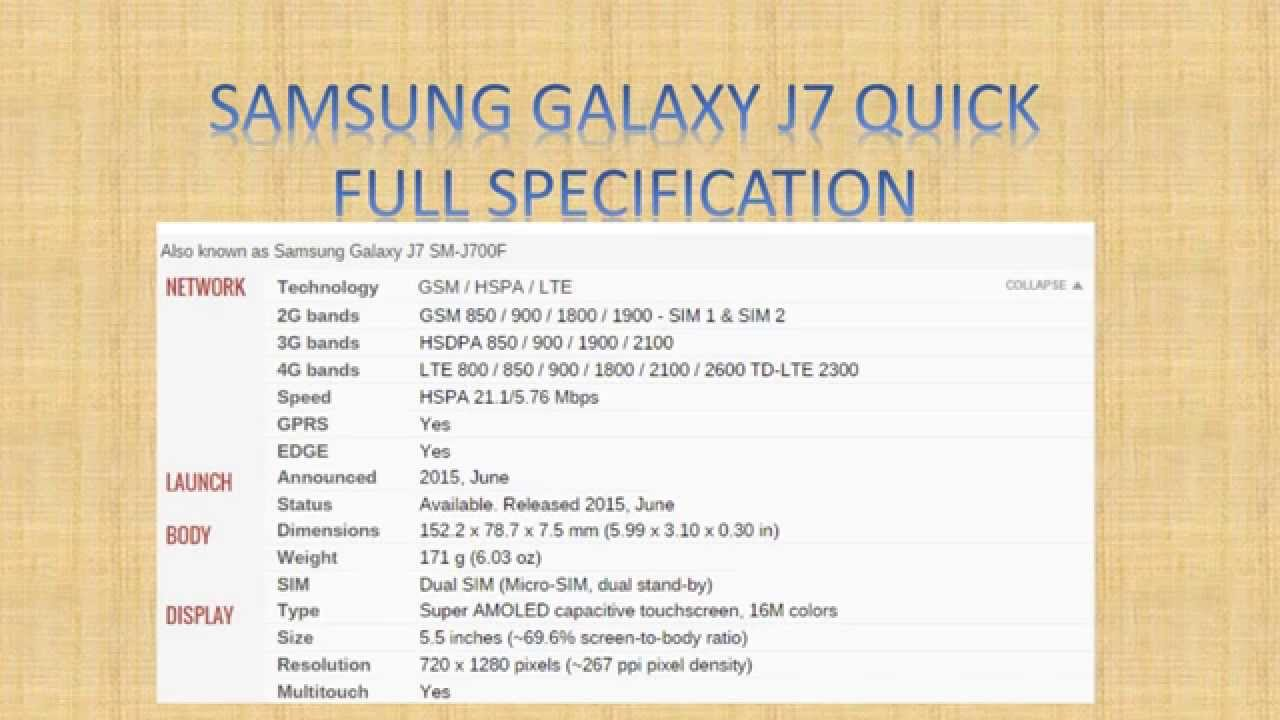 samsung galaxy j7 specification review   quick