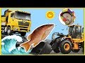 Funny Clown Bob | Construction vehicles Dump Truck & Loader Fish for kids | Funny Video for kids