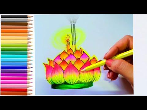 วาดภาพกระทง How to draw Krathrong #5