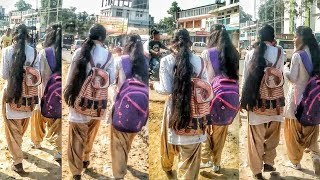 Long hair girl student from goalpara college
