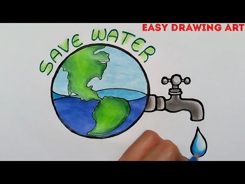 How To Draw Save Water Poster Drawing Save Water Save Earth Drawing For Kids Youtube