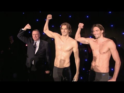 World Champion swimmer Camille Lacourt wax statue at Grevin Paris