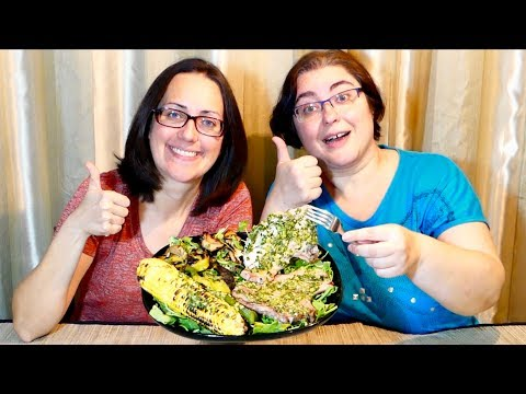 Grilled Pork Chops Hot Marinated In Chimichurri Sauce Gay Family Mukbang (먹방)