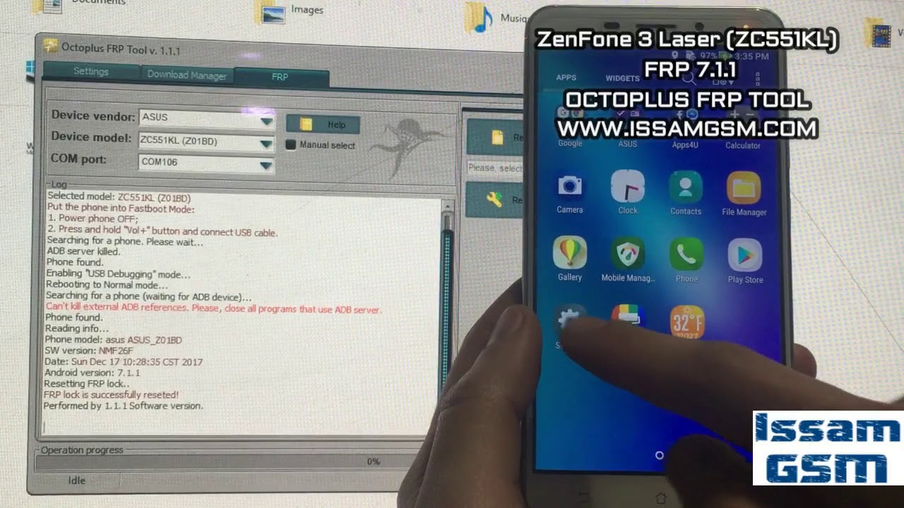 ZenFone 3 Laser (ZC551KL) HOW TO BYPASS FRP ASUS-Z01BD WITH OCTOPLUS FRP  TOOL by Issam GSM