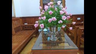 Cắm hoa-cắm bình hoa hồng để bàn không cần xốp ai cũng làm được