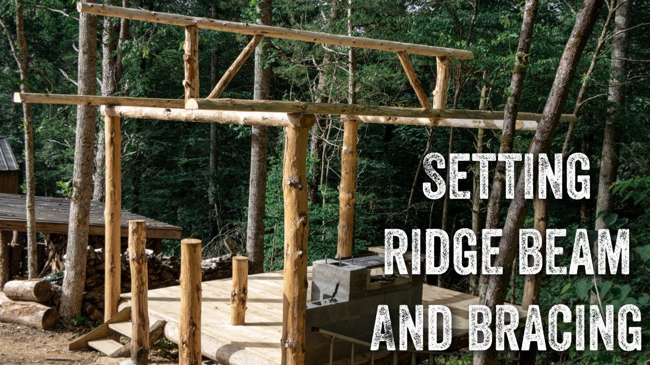 S2 EP61 | TIMBER FRAME | FOREST KITCHEN | SETTING RIDGE BEAM AND BRACING
