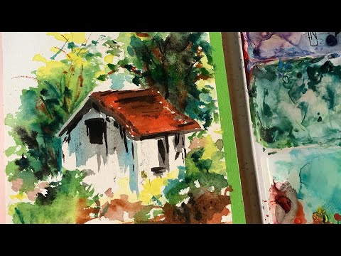 Landscape Loose Watercolor Painting! (FULL LENGTH VIDEO GUIDE ON HOW TO)