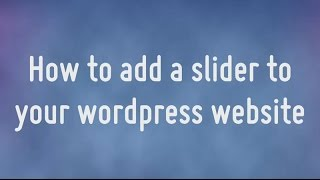 How to add a WOWslider to your wordpress website thumbnail