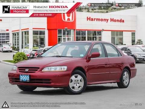 Charming 2002 Honda Accord LX   Harmony Honda   Red   17144A   Kelowna, BC
