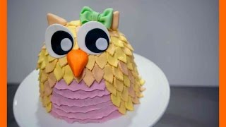 Einfache Fondant Eulen Torte - Eulen Torte Tutorial - Fondant Motivtorte Eule - Kuchenfee
