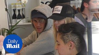 Justin Bieber hangs with Baskin Champion at SoulCycle - Daily Mail