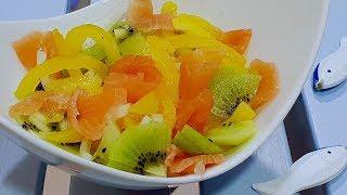 Неизбитый рецепт необычного салата. Салат с семгой. Рецепты салатов.