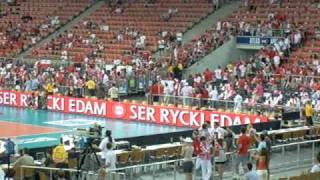 Polska-Kuba (03.07.2010, Łódź) - Polacy wychodzą na rozgrzewkę