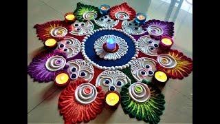 Super Innovative and Creative Big Rangoli For Navratri/Diwali Festival| Rangoli by Shital Mahajan.