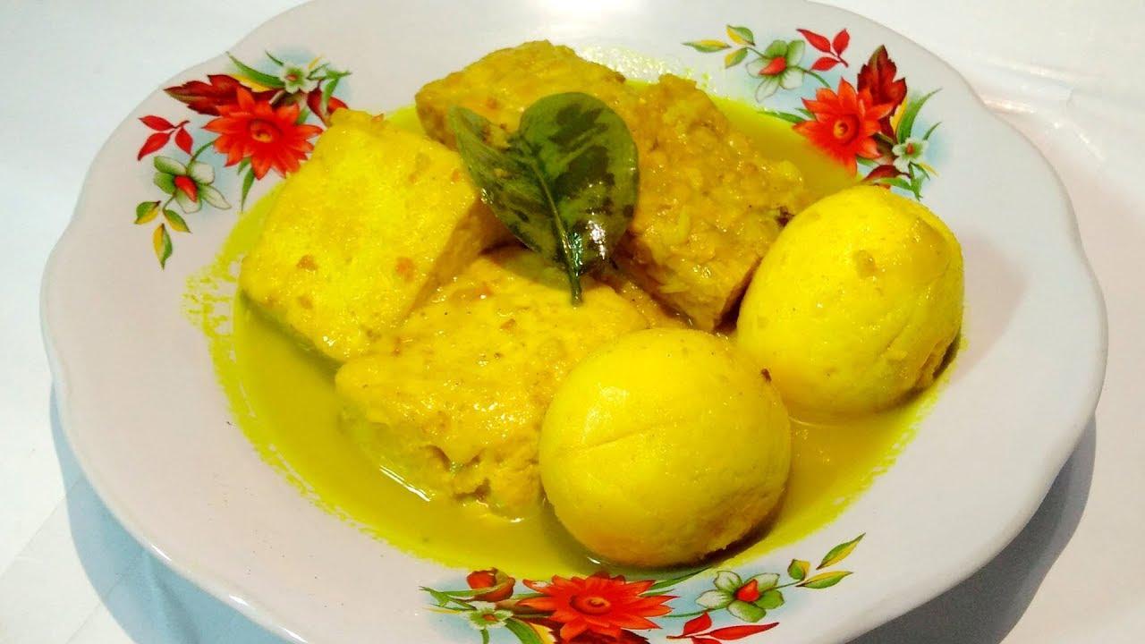 Resep Telur Tahu Tempe Bumbu Kuning Youtube