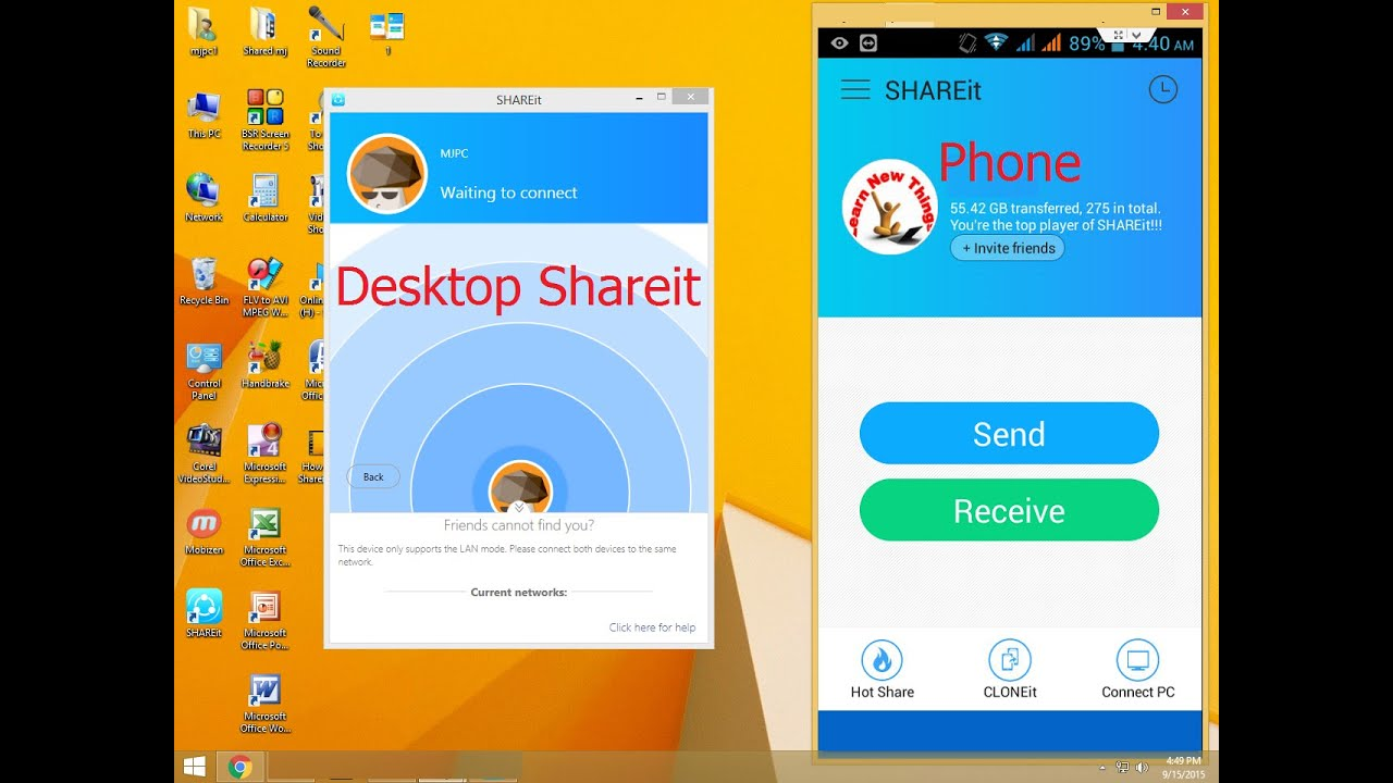 How to use Shareit In Computer & Phone to Transfer Data files