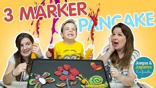 3 MARKER CHALLENGE con PANCAKE art // dibujos bonitos PRIMAVERA