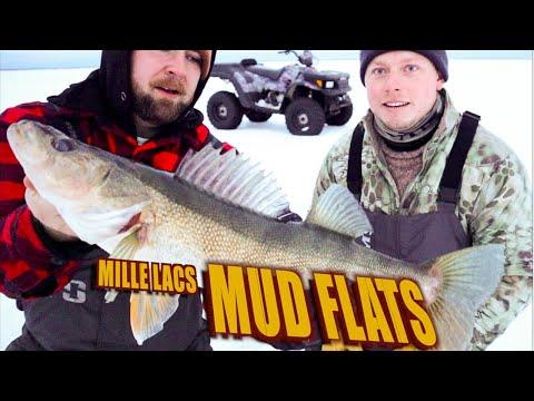 Ice Fishing Mille Lacs Lake Walleye | Ice Fishing Mn | Mud Flats
