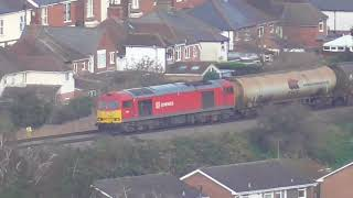 Freight filmed from Robinswood Hill overlooking Over Jn and Gloucester Yard Jn. 14/11/2018