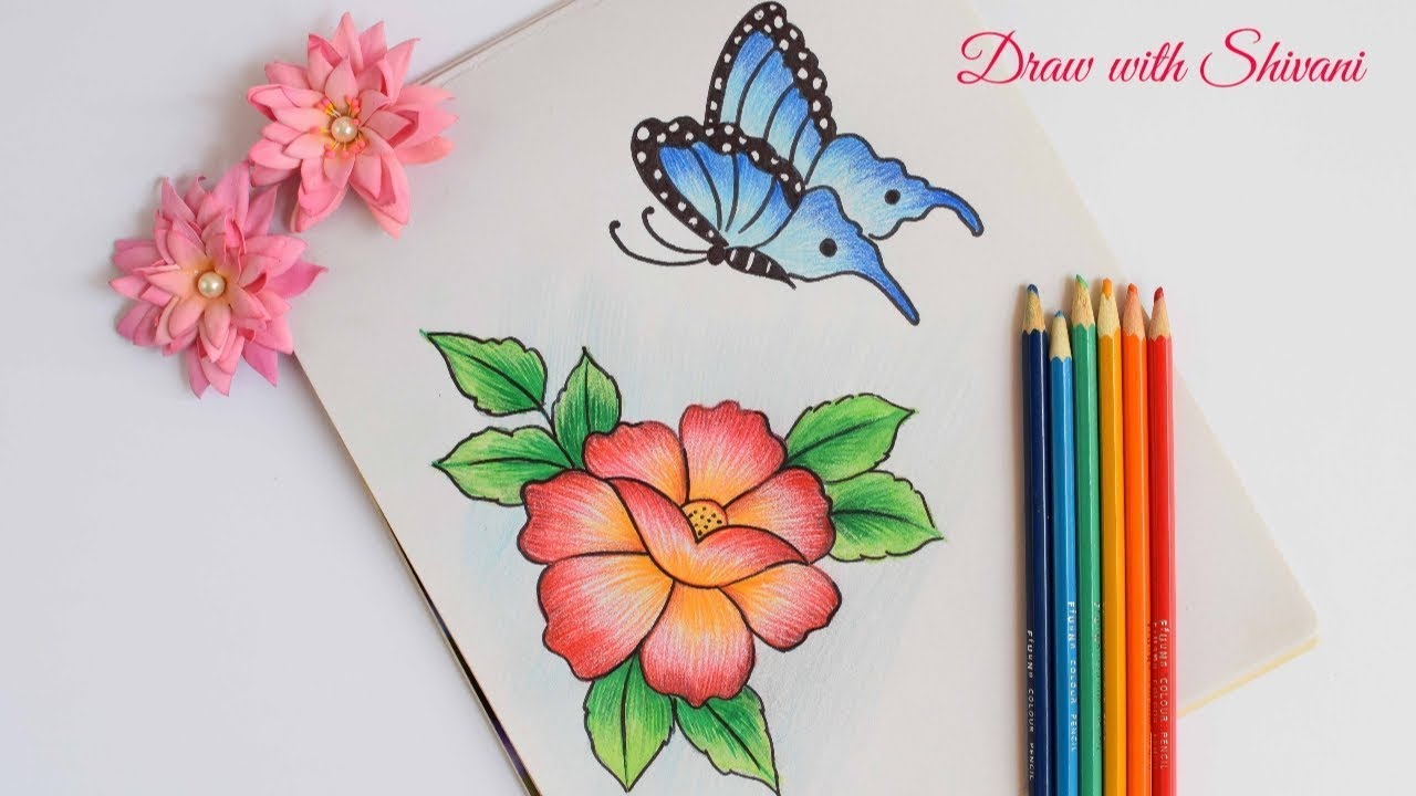 How to draw butterfly with flower using pencil colors easy pencil shading drawings