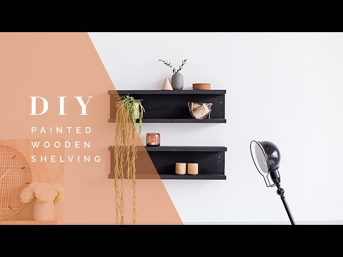 DIY Painted Wooden Shelving with Vintage Paint