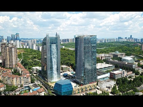 Impractical Chinese Skyscraper Features 108-Meter-Tall Facade Waterfall