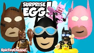 SURPRISE EGGS! Batman VS Batman VS Batman Play-Doh Surprise Eggs + LEGO Batman Movie ToysReview