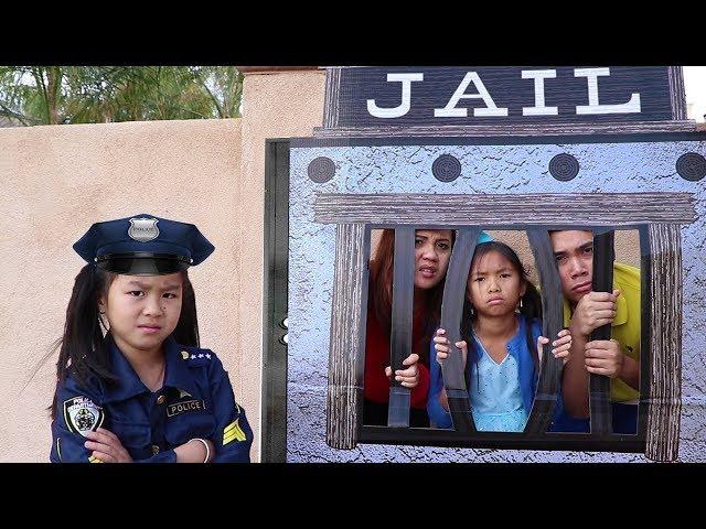 Police Jannie & Wendy Pretend Play LOCKED UP w/ Jail Playhouse