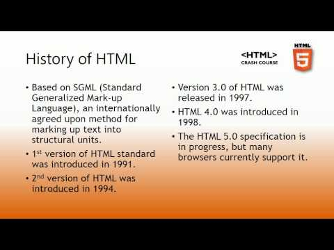 Lesson 1 - History Of HTML