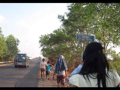 Walking over Sekong Bridge in Steung Treng Province, Cambodia