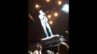 Luke Bryan talking to crowd after falling off stage in Indianapolis , IN 8/30/14.