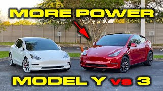 MORE POWER in the Y * Tesla Model Y Performance vs Model 3 Performance