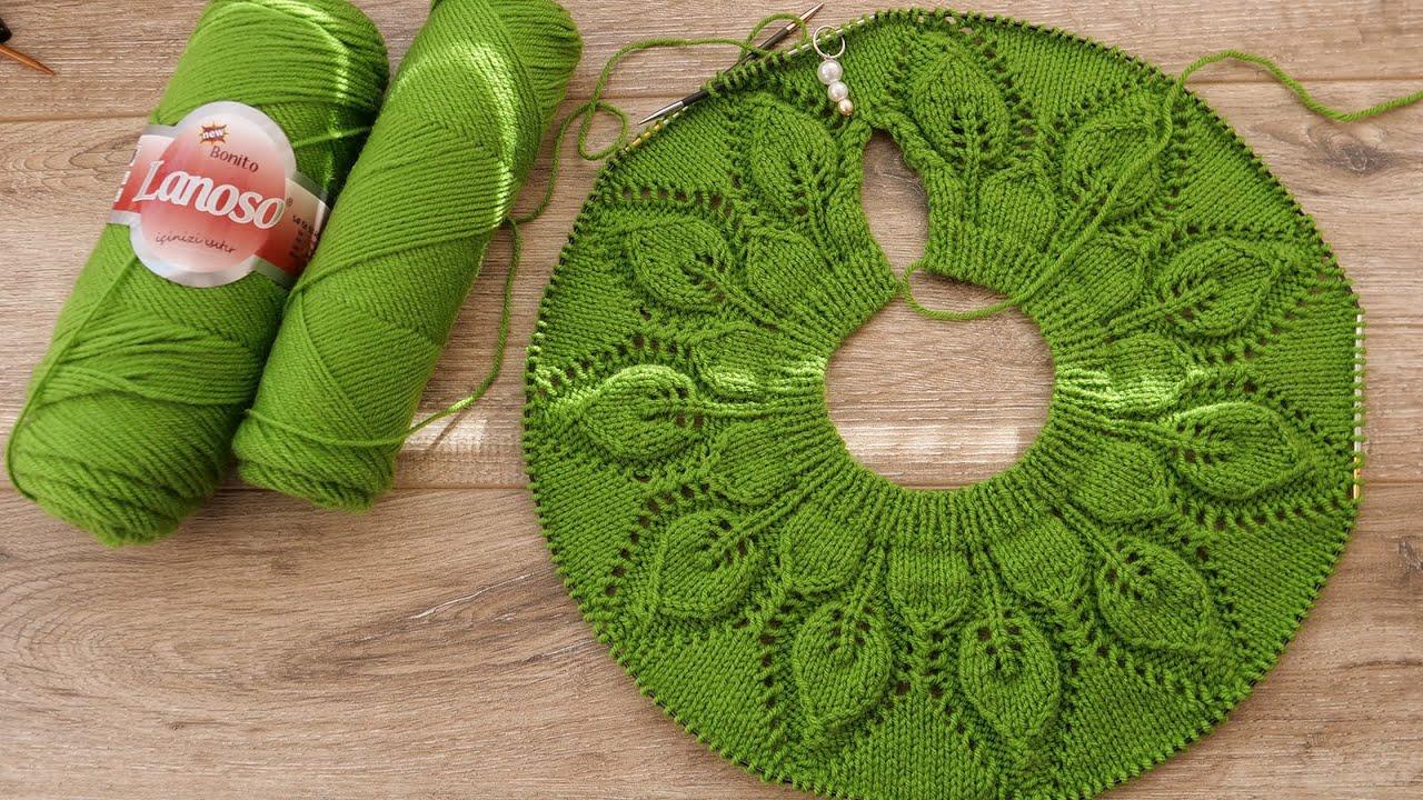 Круглая кокетка «Листья» спицами для детского платья 🦚 Baby Dress with Round Yoke ☘