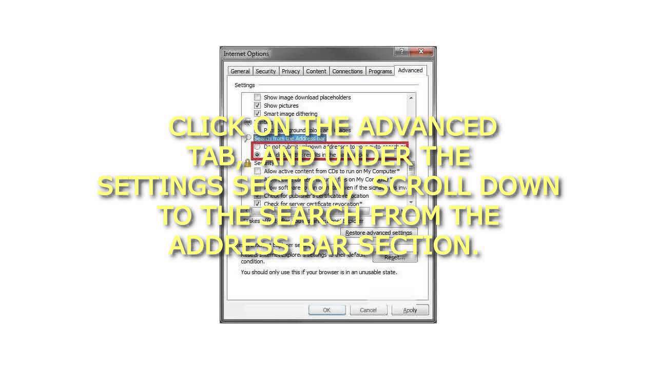 How To Enable Or Disable Search From Internet Explorer 8 Address Bar